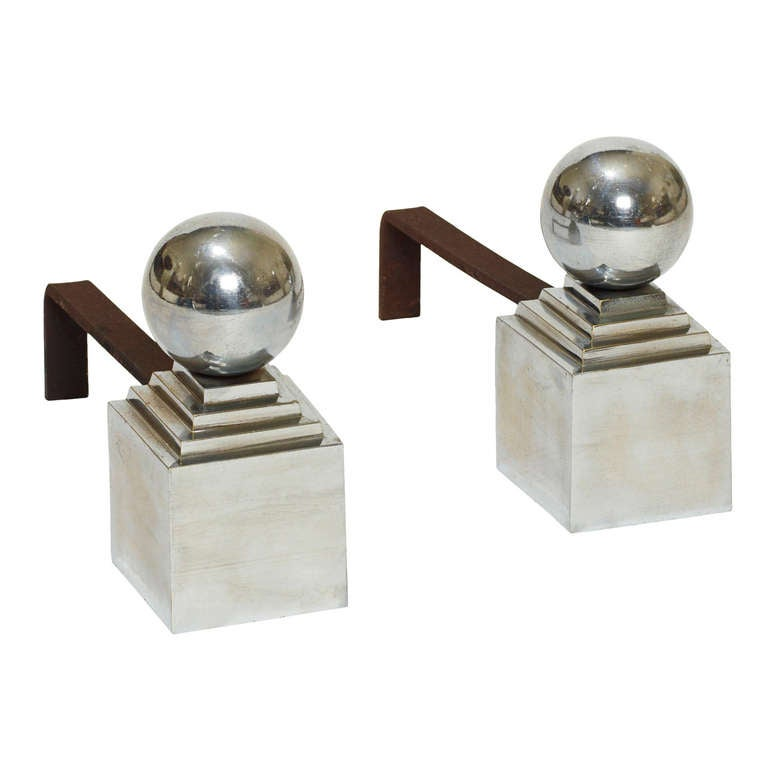 Pair of Andirons with Sphere Finials in Chromed Metal by Jacques Adnet For Sale