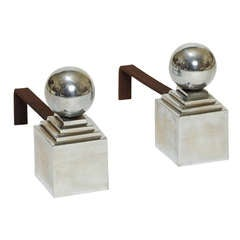 Pair of Andirons with Sphere Finials in Chromed Metal by Jacques Adnet