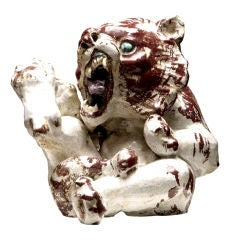 "Enameled ""Ceramic Rock"" Tiger Cub by Jean-Rene Gauguin"