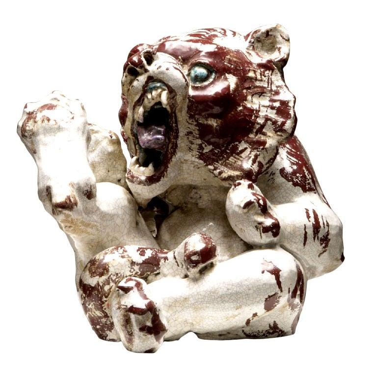 "Enameled ""Ceramic Rock"" Tiger Cub by Jean-Rene Gauguin"
