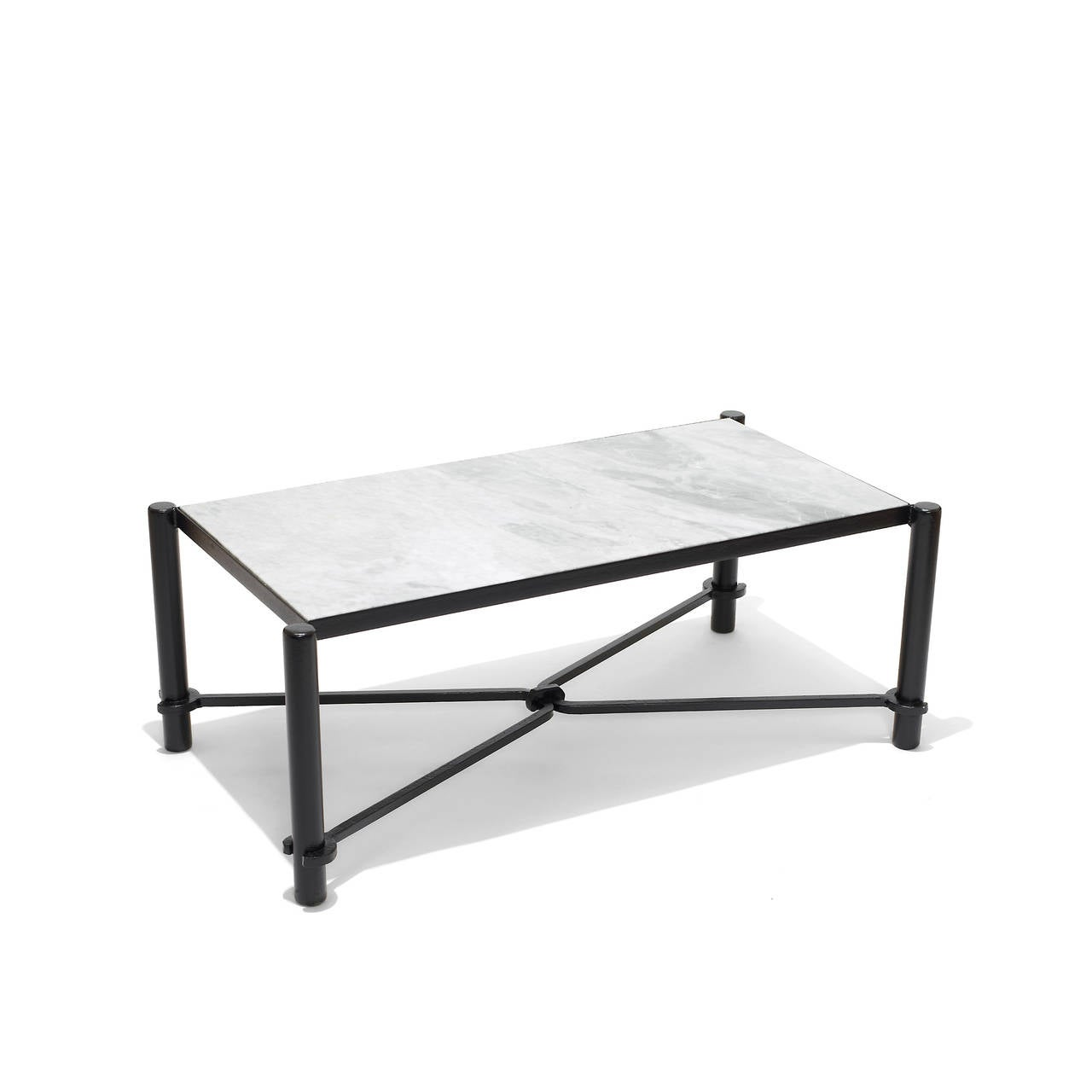Coffee Table With Graphic Iron Base By Jacques Adnet For Sale At 1stdibs