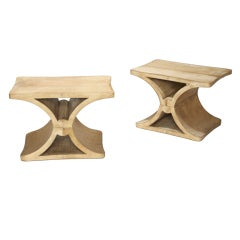 Pair x-form tables in parchment over oak by Jean-Michel Frank