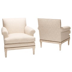 Pair neoclassical finely carved armchairs by Maison Jansen