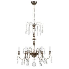 Chandeliers in Nickel and Crystal by Carl G. Hallberg