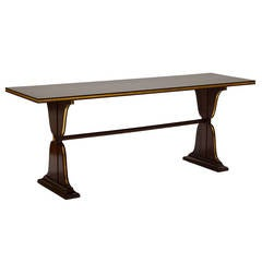 Extraordinary Maison Jansen Console in Mahogany with Gilded Details
