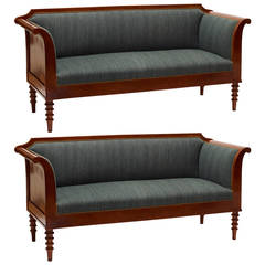 Spectacular Pair of Danish Neo-Antique Settees in Mahogany
