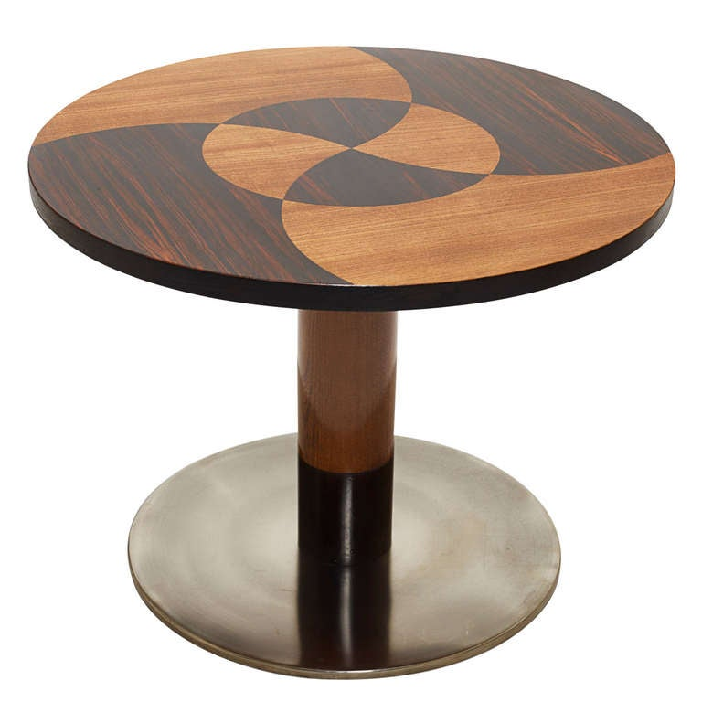 Funkis round table with marquetry top steel base by otto for Funkis sale