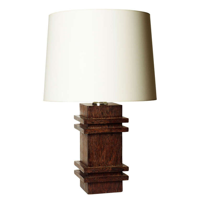 Pedestal Table Lamp in Palm Wood by Jacques Adnet 1