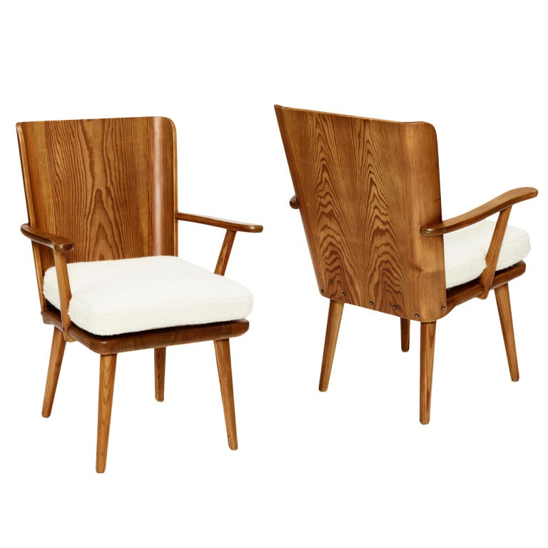 Pair Of Lov 246 Barrel Back Armchairs In Pine By Axel Einar