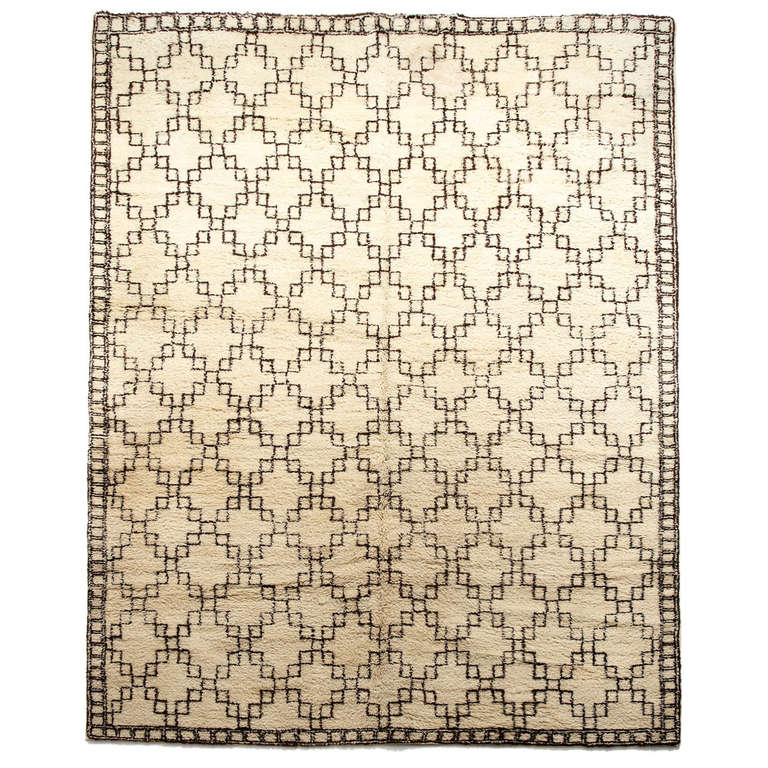 Large Swedish HandWoven Wool Pile Carpet With Moroccan Style Inspiration Moroccan Design Pattern
