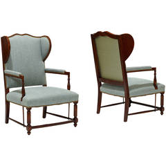 Pair of Swedish Wingback Chairs in Birch