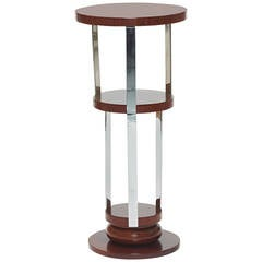 Guéridon in Rosewood and Chrome by Jacques Adnet