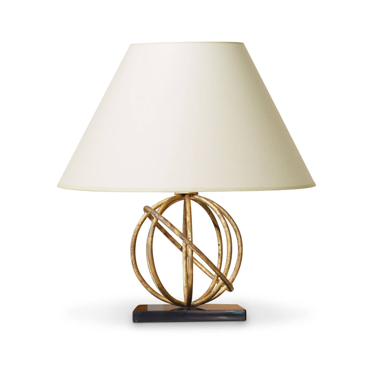 Iron Table Lamps : Sphère table lamp in gilded iron and marble by jean