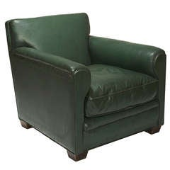 Club Chair in Original Green Leather by Jean-Michel Frank