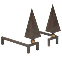 Pair andirons by Jean Royère