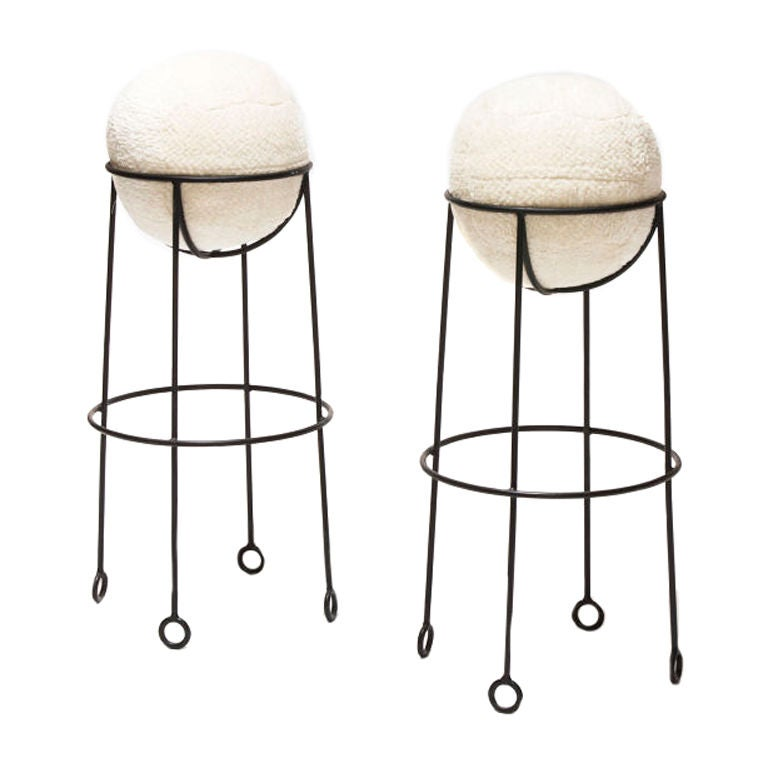 Pair Stools With Quot Yo Yo Quot Feet In Iron By Jean Roy 232 Re At