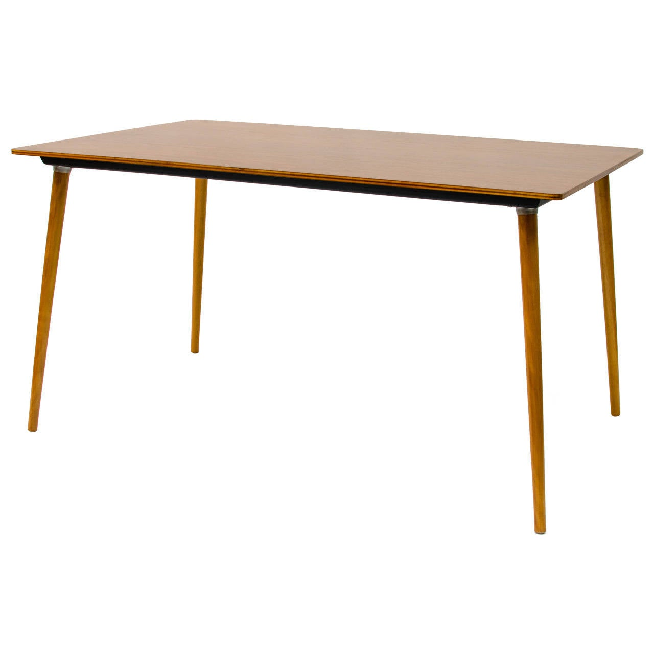 Eames dtw 3 wood leg dining table at 1stdibs for One leg dining table