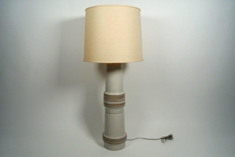 Unique Martz Studios Tall Ceramic And Teak Table Lamp 1960