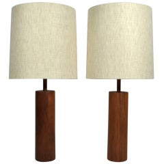 Stunning Martz Solid Walnut Table Lamps for Marshall Studios