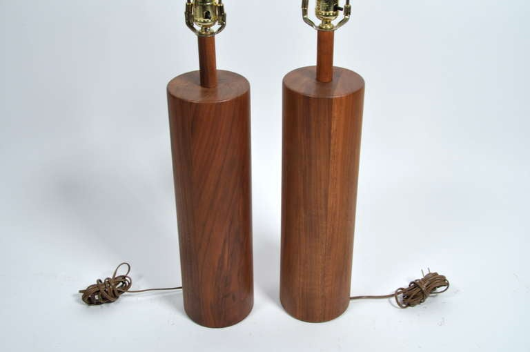 Stunning Martz Solid Walnut Table Lamps For Marshall