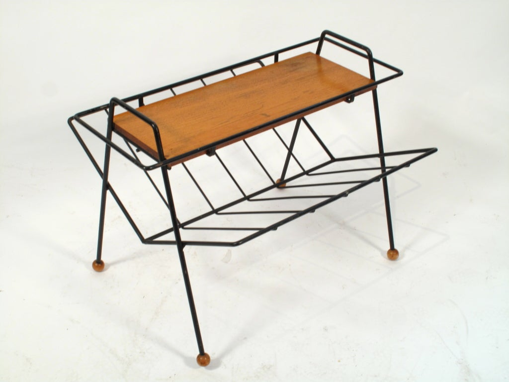 Very Impressive portraiture of Tony Paul Magazine Rack Table 1950's image 3 with #9B6030 color and 1024x768 pixels