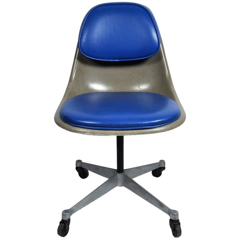 Rare Eames PSCC Padded Side Desk Chair Herman Miller at