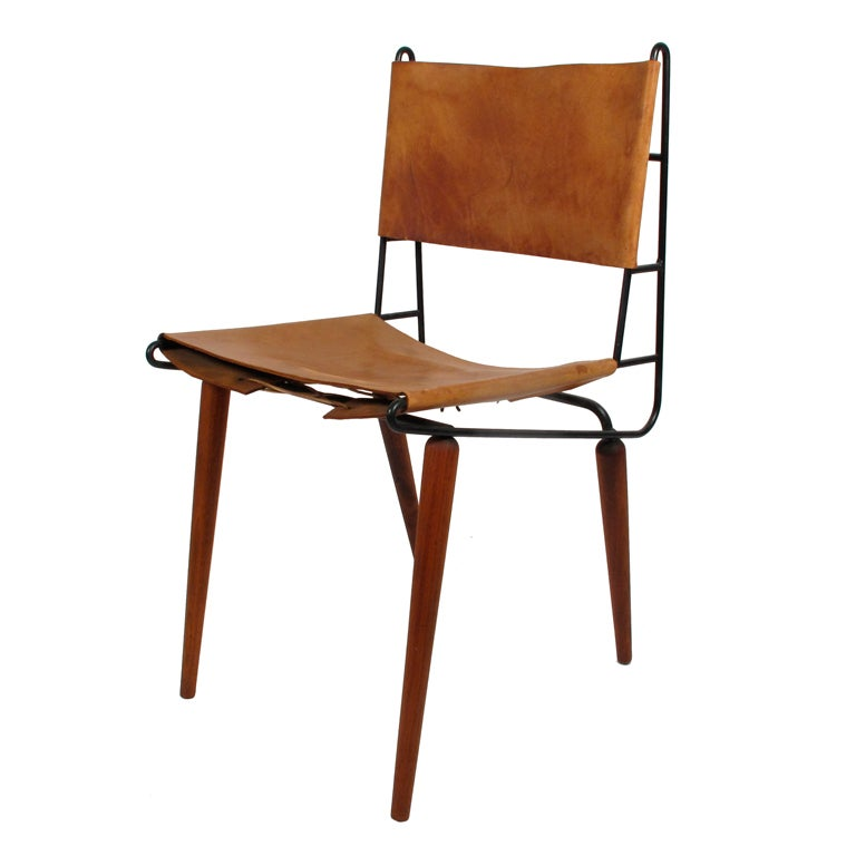 allan gould iron wood leather side chair 1950 39 s at 1stdibs