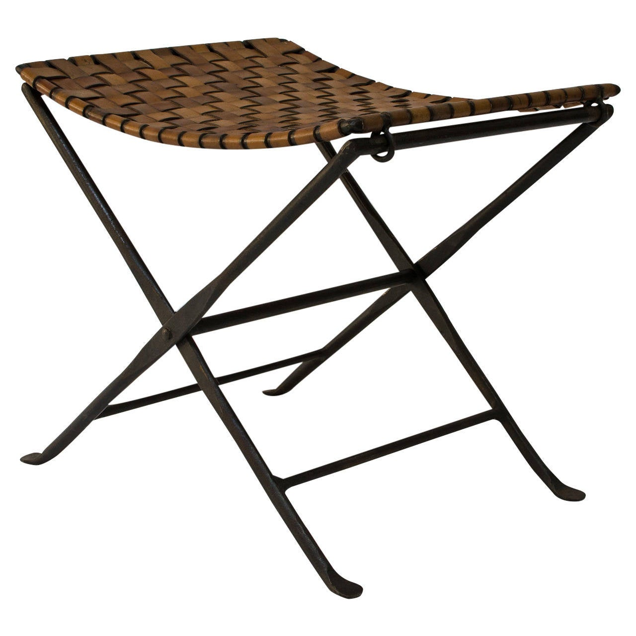 Iron And Leather Stool California 1950s At 1stdibs