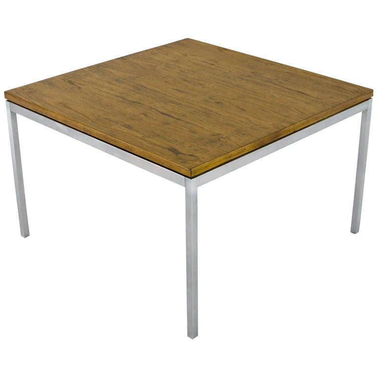 Solid Chrome Coffee Table: Florence Knoll Solid Chrome And Oak Floating Top Coffee