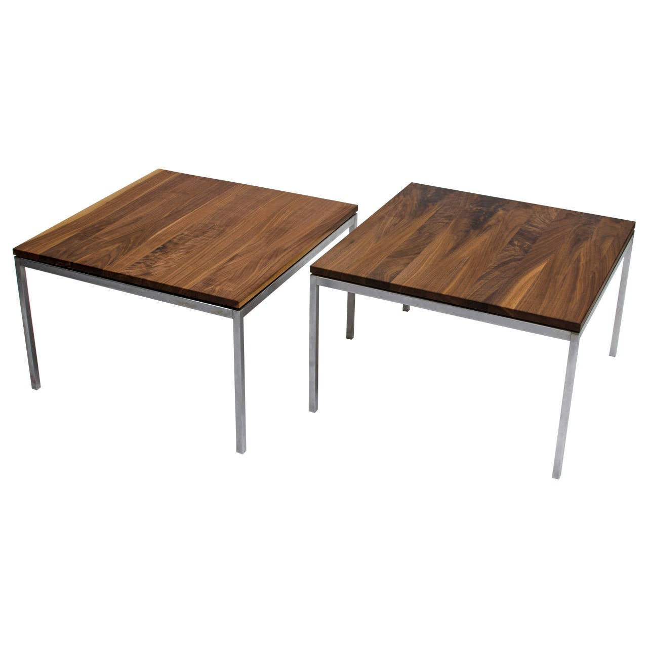 Florence knoll solid steel and walnut floating top coffee or side table 1950s at 1stdibs Side and coffee tables