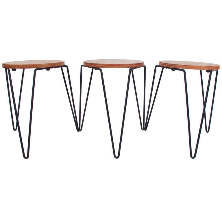 Early Florence Knoll Stacking Hairpin Stools 1947 At 1stdibs