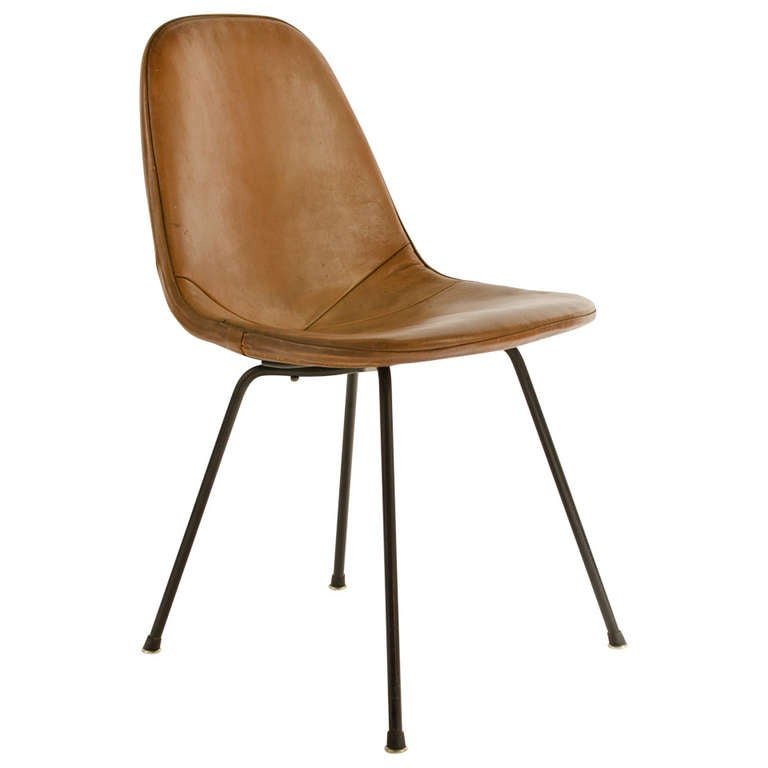 Charles Eames DKX 1 Postman s Bag Leather Side Chair 1950