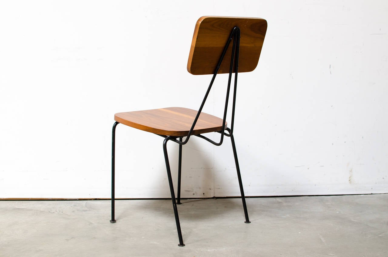 Luther Conover Walnut and Iron Side Chair 1950s at 1stdibs