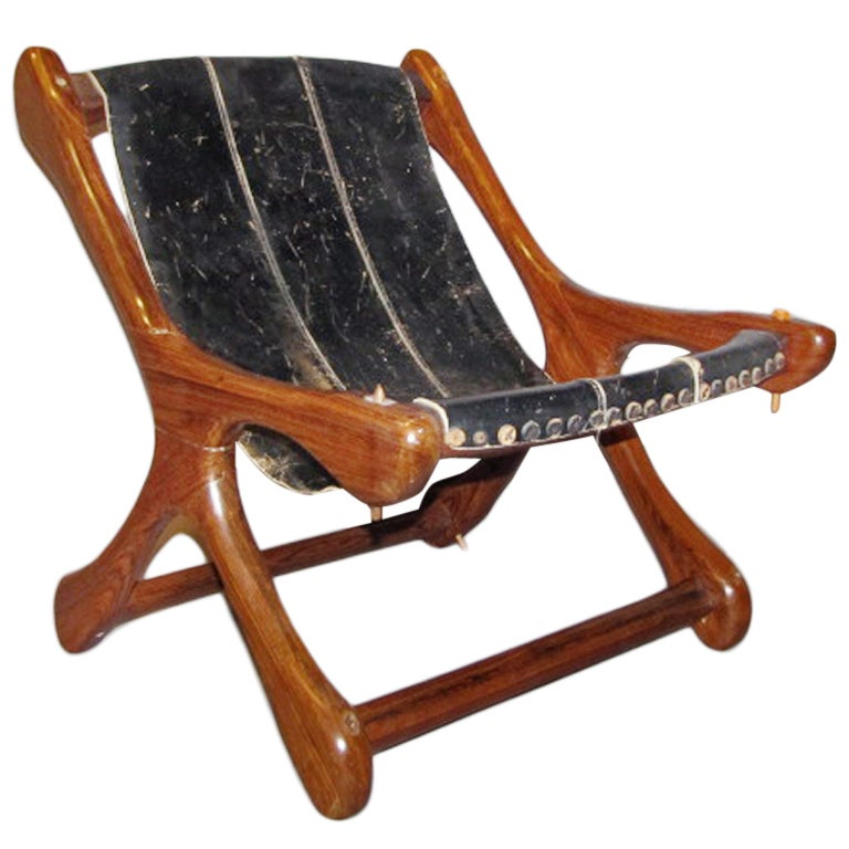 don shoemaker sling chair rosewood and leather at 1stdibs