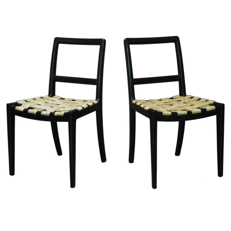 Set Of Four Wooden Chairs Black Lacquered Edmond Spence At 1stdibs