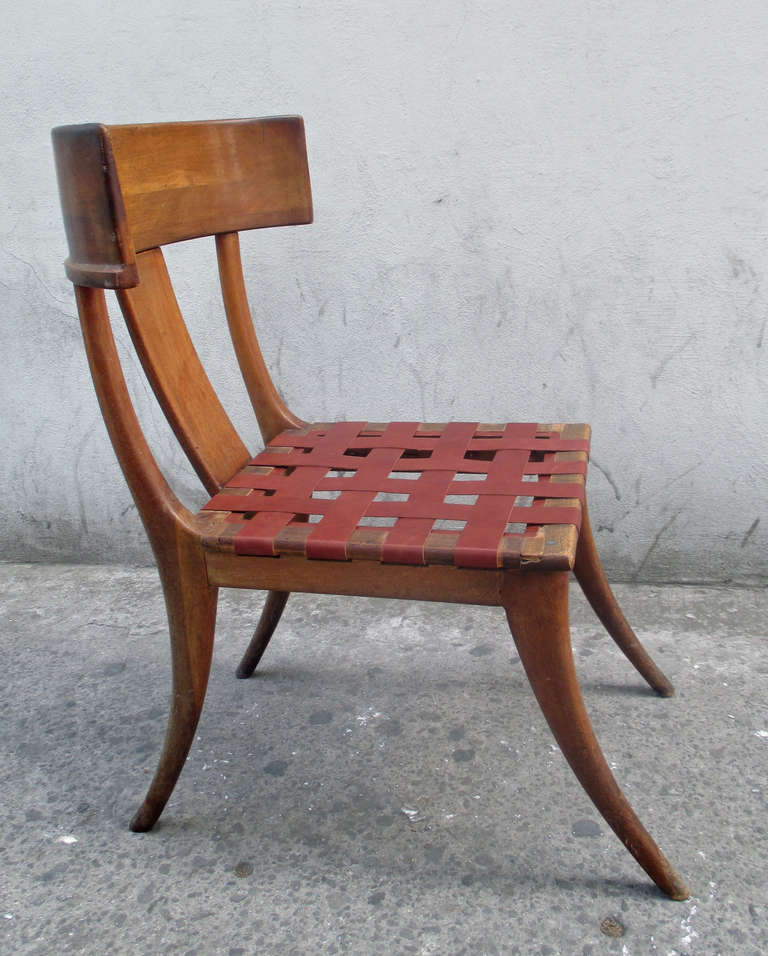 Klismos Wooden and Leather Chair at 1stdibs