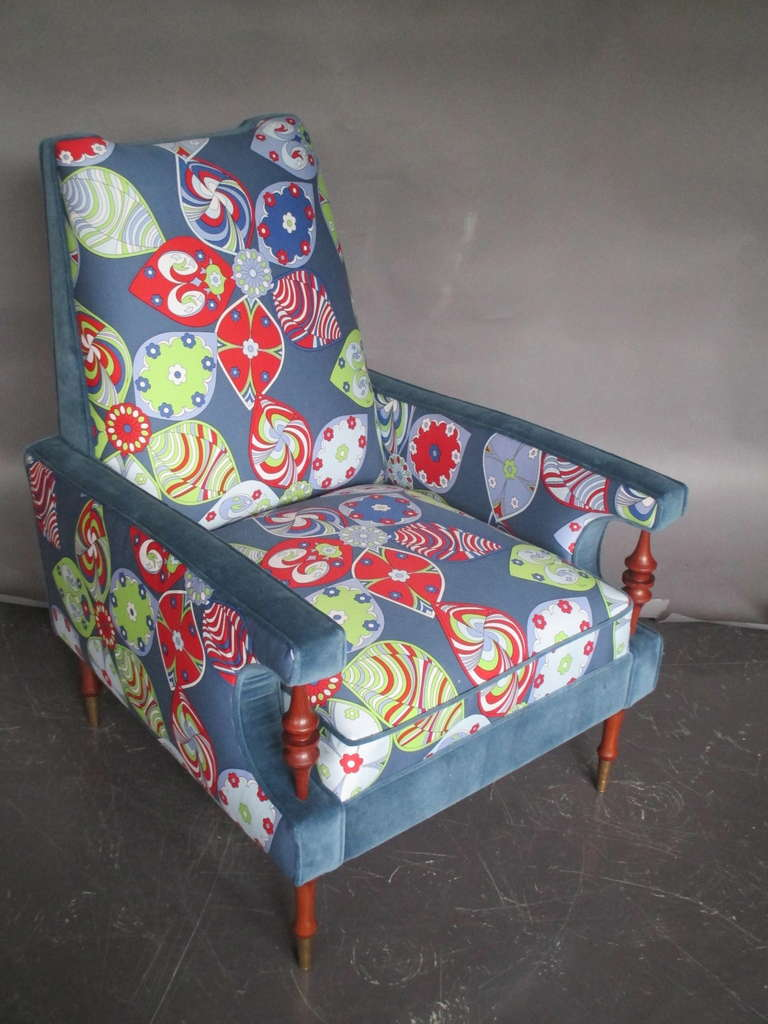 Arm Chair And Ottoman Emilio Pucci Original Fabric At 1stdibs