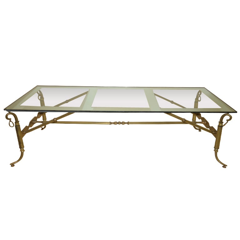 Arturo Pani Coffee Table Bronze And Mirror Glass At 1stdibs