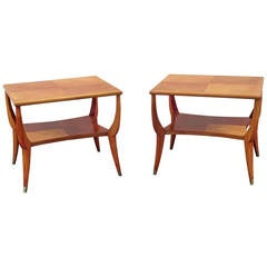 Arturo Pani Pair of Side Tables in Wood and Bronze
