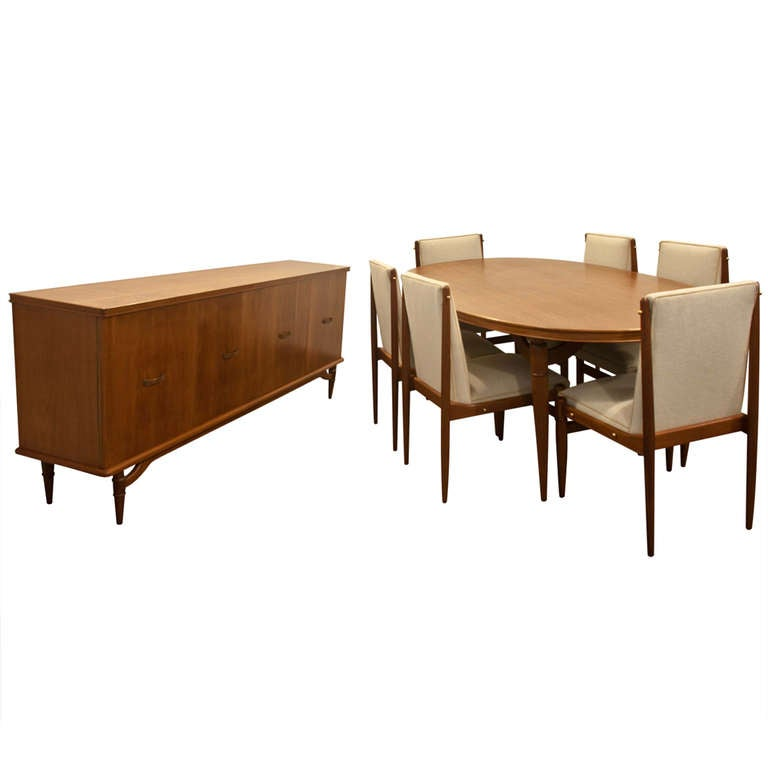 Frank Kyle Dining Table And Credenza Wood And Bronze At