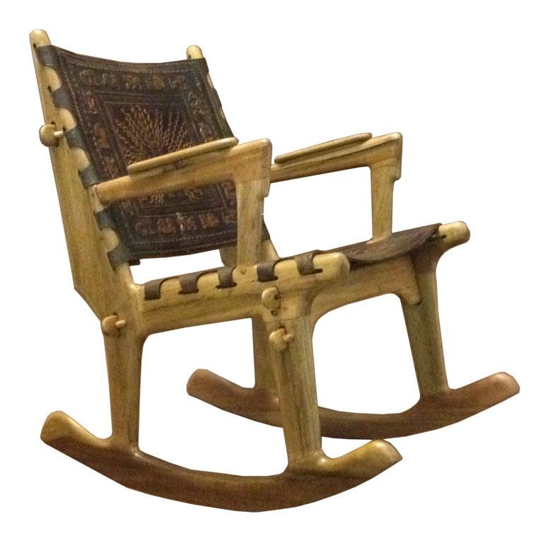 Angel Pazmine Ecuatorian Rocking Chair Wooden Leather At