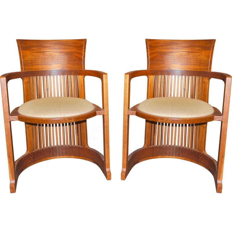 Pair Of Wooden Barrel Chairs After Frank Lloyd Wright At 1stdibs