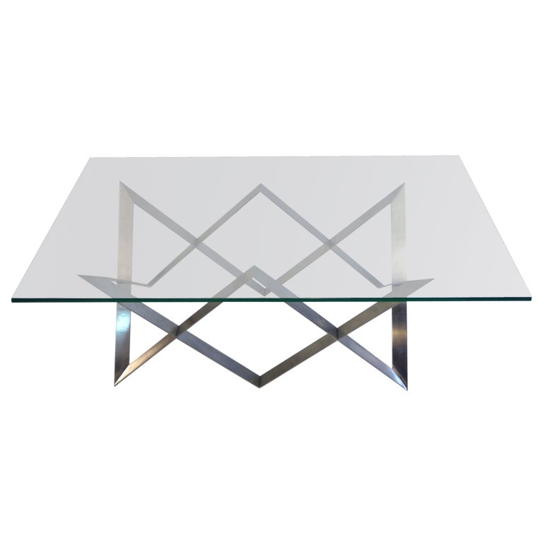 Steel/glass Coffee Table Geometric Motif At 1stdibs