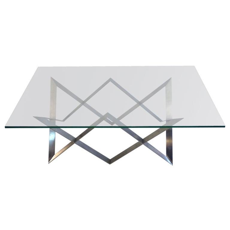 Steel glass coffee table geometric motif at 1stdibs for Geometric coffee table