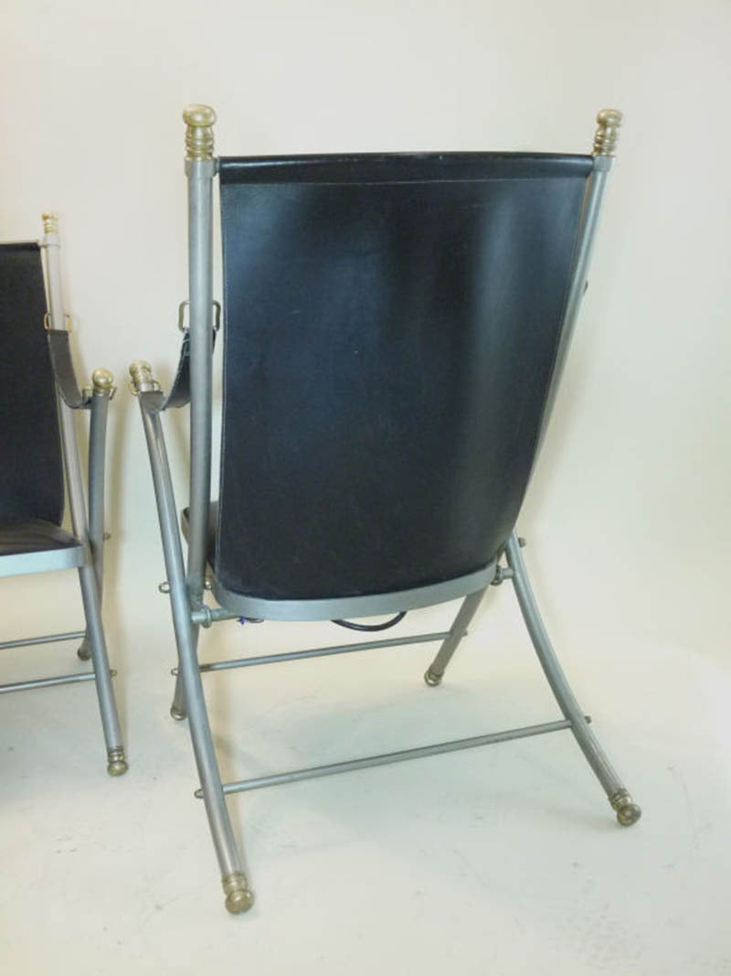 Maison Jansen Pair Of Campaign Chair For Sale At 1stdibs