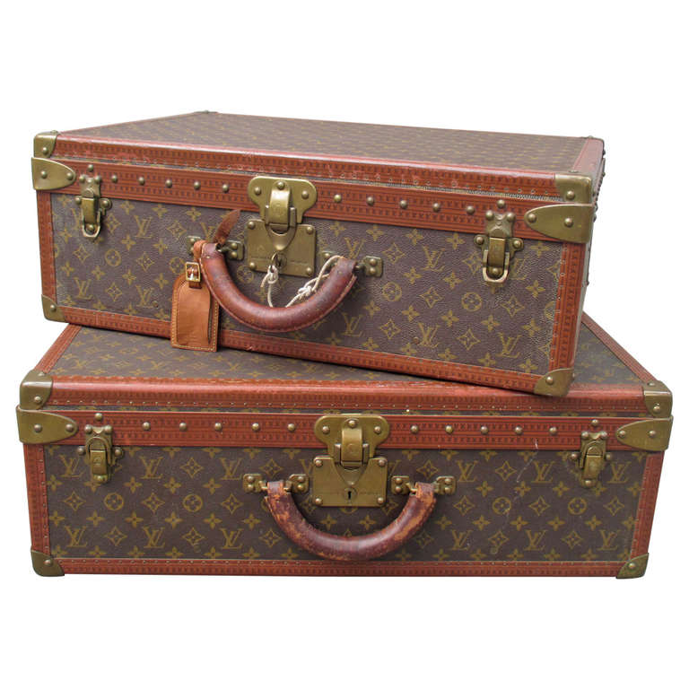 Pair Of Louis Vuitton Alzer Vintage Suitcases At 1stdibs