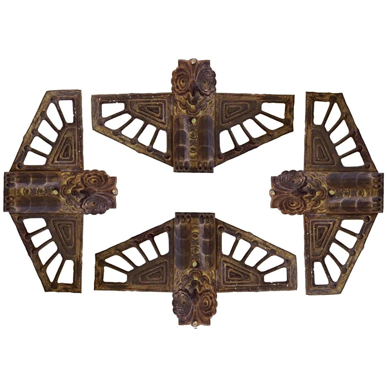 set of art deco brass owls appliques at 1stdibs. Black Bedroom Furniture Sets. Home Design Ideas