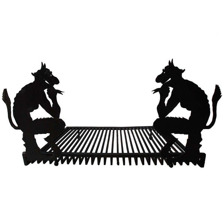 Mythological Goat Baphomet Allusion Andirons Steel Hand