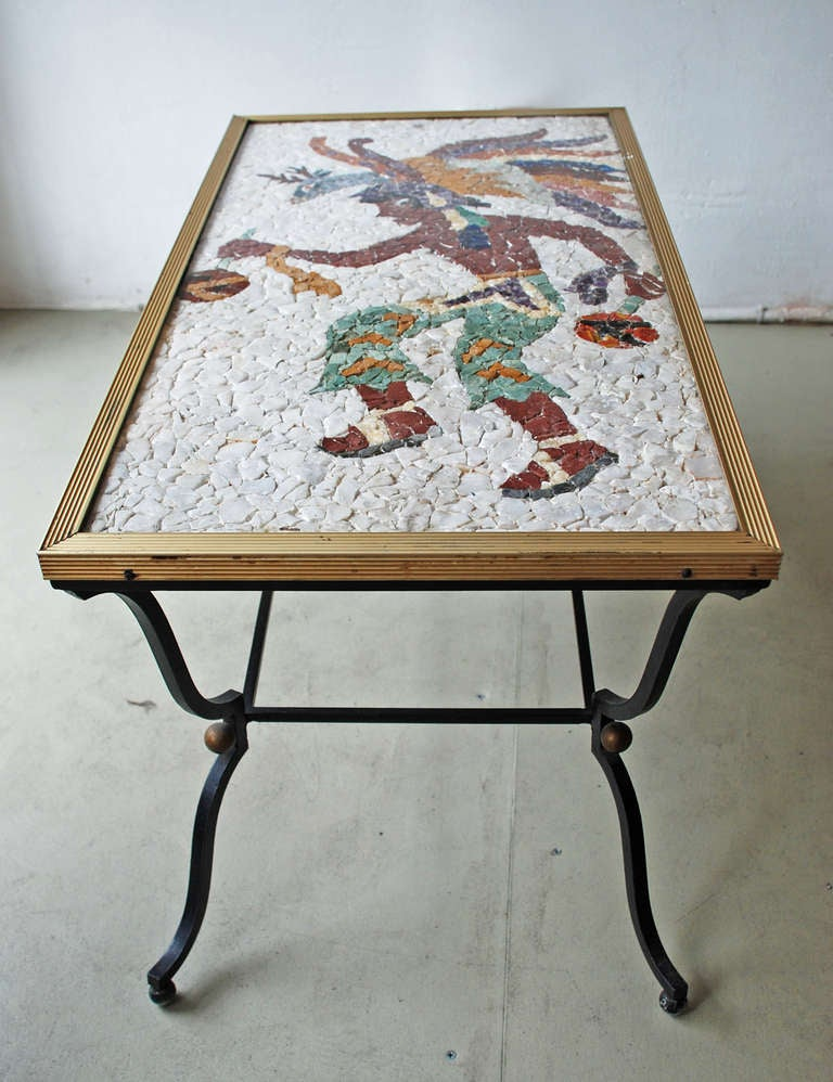 Coffee Table With Stone Mexican Design Figure Attributed To Los Castillo Image 6