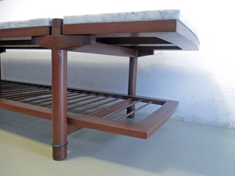 Midcentury Mexican Coffee Table Of Wood Marble And Enamel At 1stdibs
